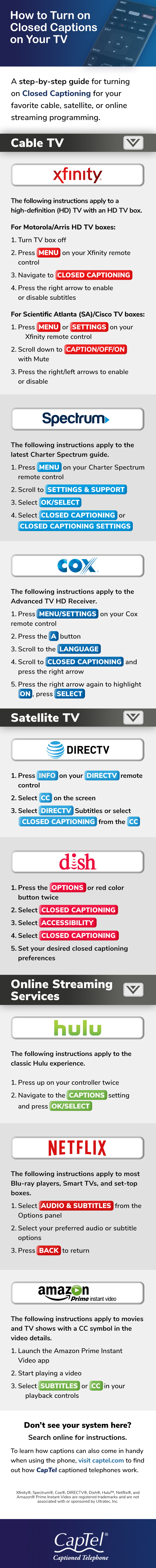 How To Turn On Closed Captions On Your Tv Infographic
