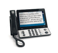 Try the 2400i captioned telephone with touchscreen from CapTel.