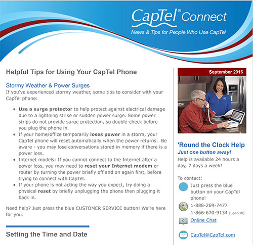 CapTel Connect Newsletter - Helpful Tips for Using Your