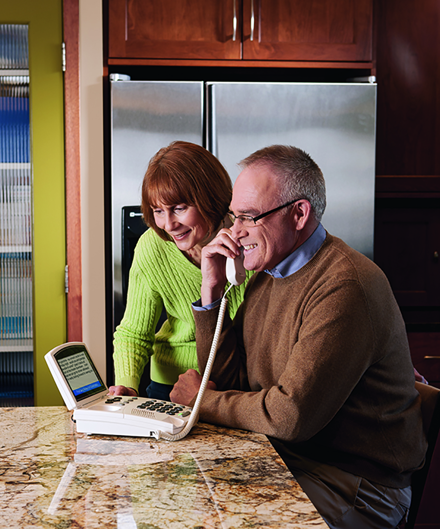 CapTel captioned telephones offer hearing loss support by providing captions of everything the caller says.