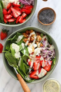 One of the healthy spring recipes on our list is a strawberry spinach salad.