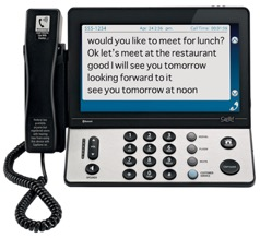 One type of hearing impaired telephone uses captioned technology.
