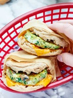 One of the healthy breakfast ideas in this post is a whole-grain breakfast sandwich