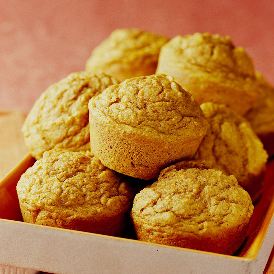 One healthy pumpkin recipe to try is apple-pumpkin muffins