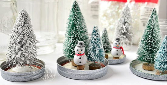 Waterless snow globes is one winter craft idea for seniors.
