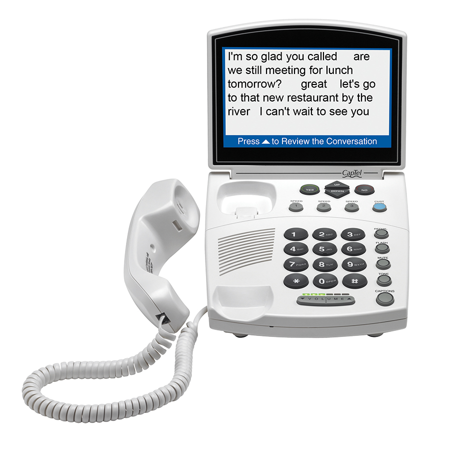 CapTel 840 is a phone for hearing loss that provides captions of everything your caller says.