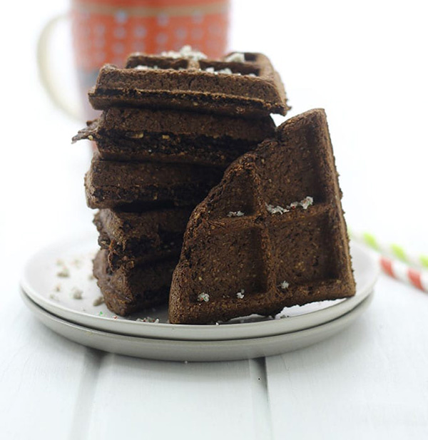 One of the healthy holiday breakfast recipes on our list is Peppermint Mocha Waffles