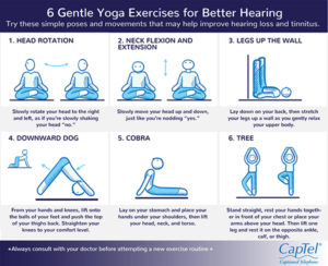 This hearing loss prevention infographic illustrates yoga poses that can promote better hearing.