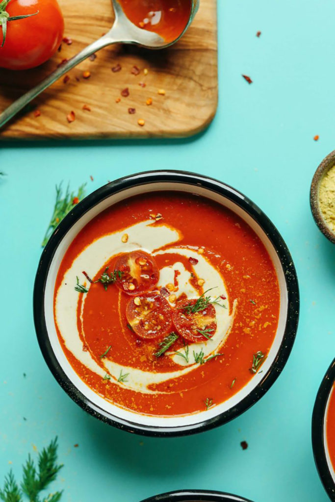 One of the homemade soup recipes on this list is creamy roasted red pepper tomato soup