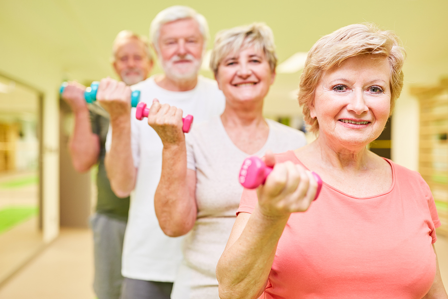Improved balance is one weight training benefit for seniors.