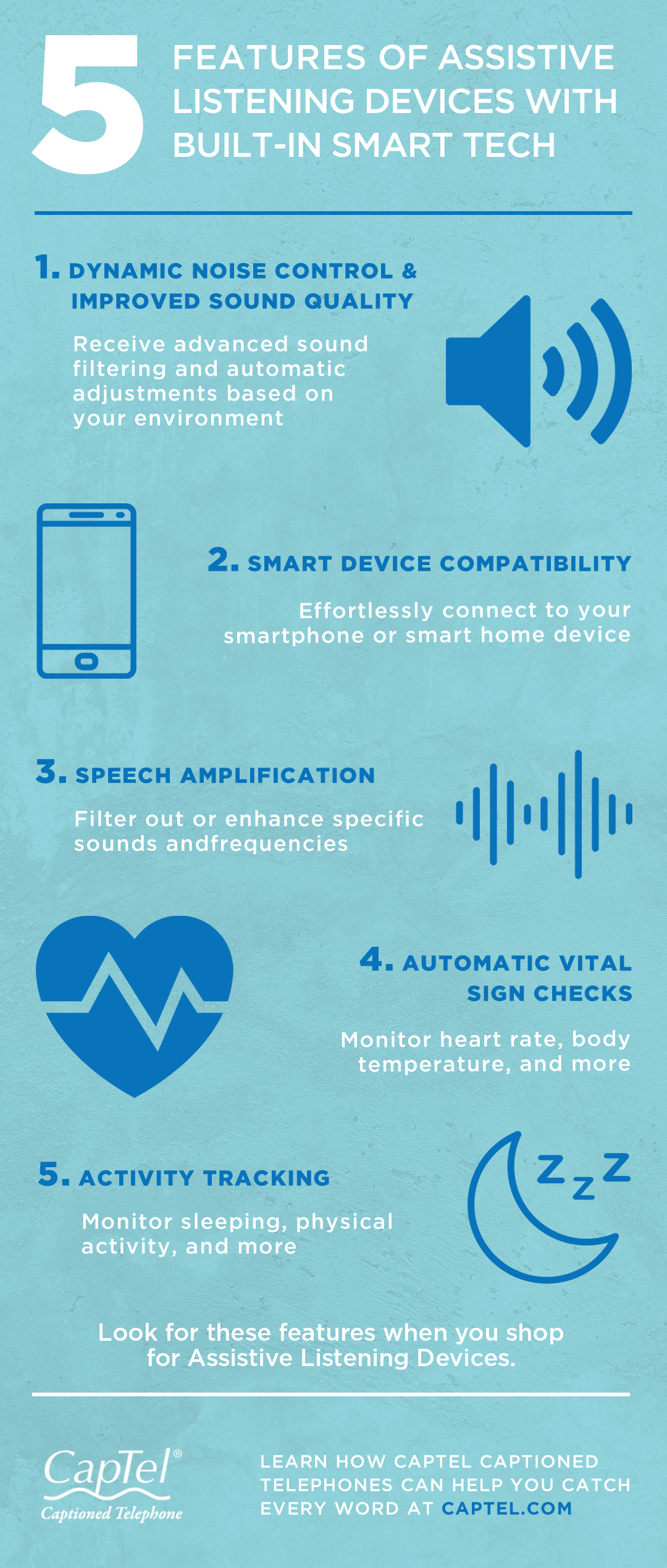 This infographic covers smart tech features for assistive listening devices.