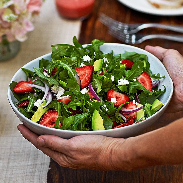 One of the healthy summer salad recipes on our list is Strawberry, avocado and arugula salad