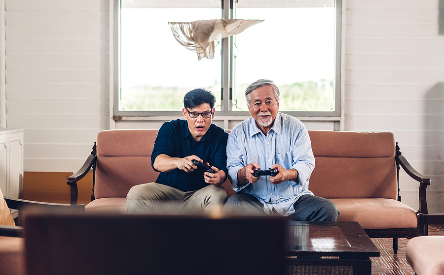 The health benefits of video games for older adults include improved balance, better cognitive function, and a happier mood.