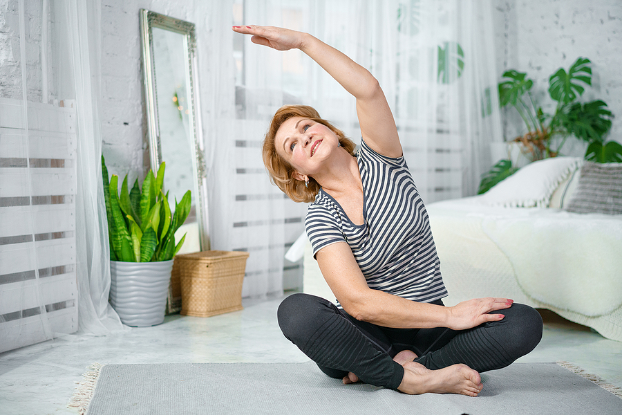 These stretching exercises can be done standing or seated.